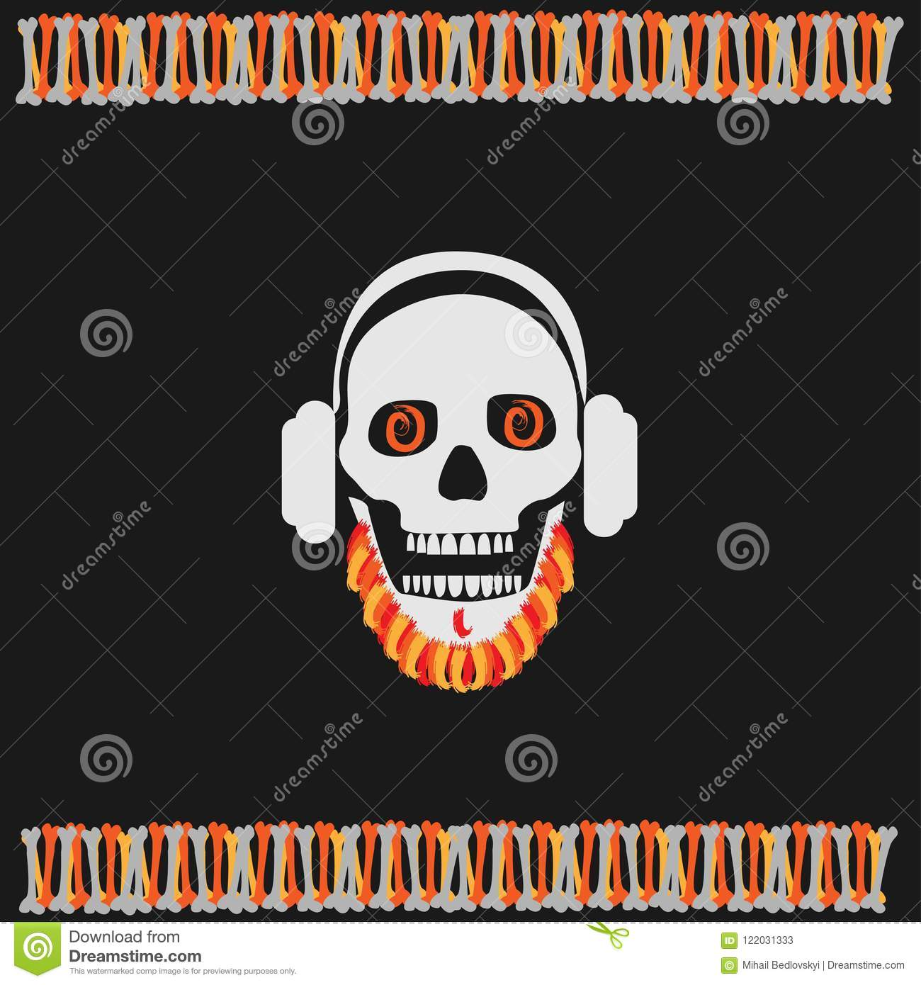 Skull Boy Wearing Headphones With A Beard Halloween Party Vector Illustration