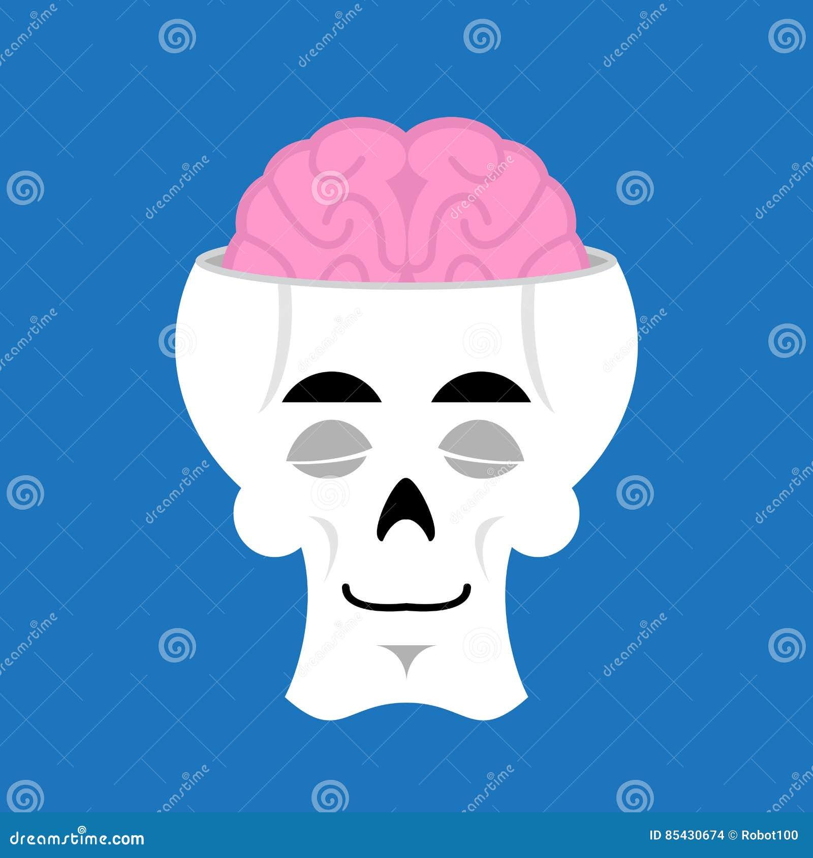 Skull And Brain Sleeps Emoji. Skeleton Head Asleep Emotion