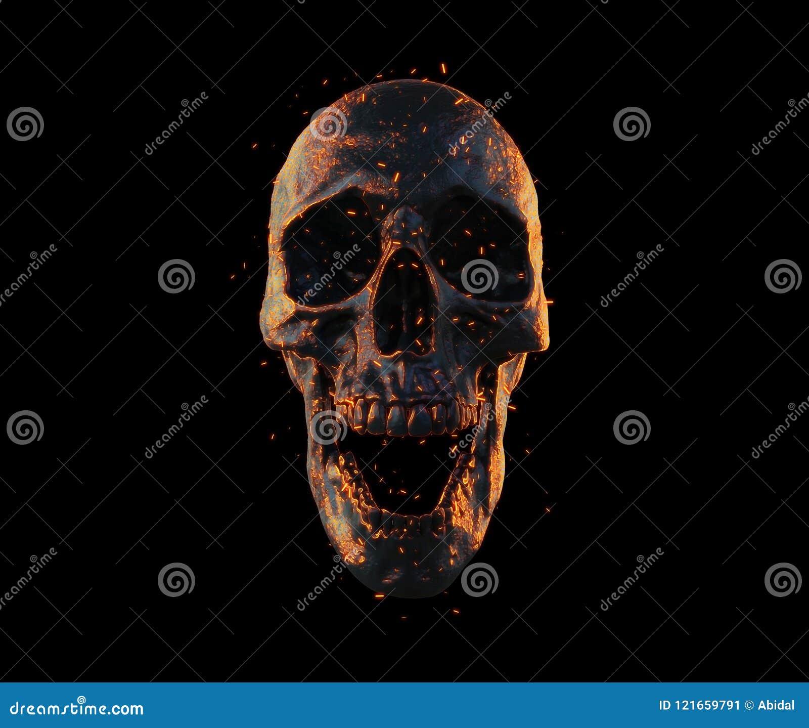 Skull Burned In Fire Wallpaper 3d Rendering Stock
