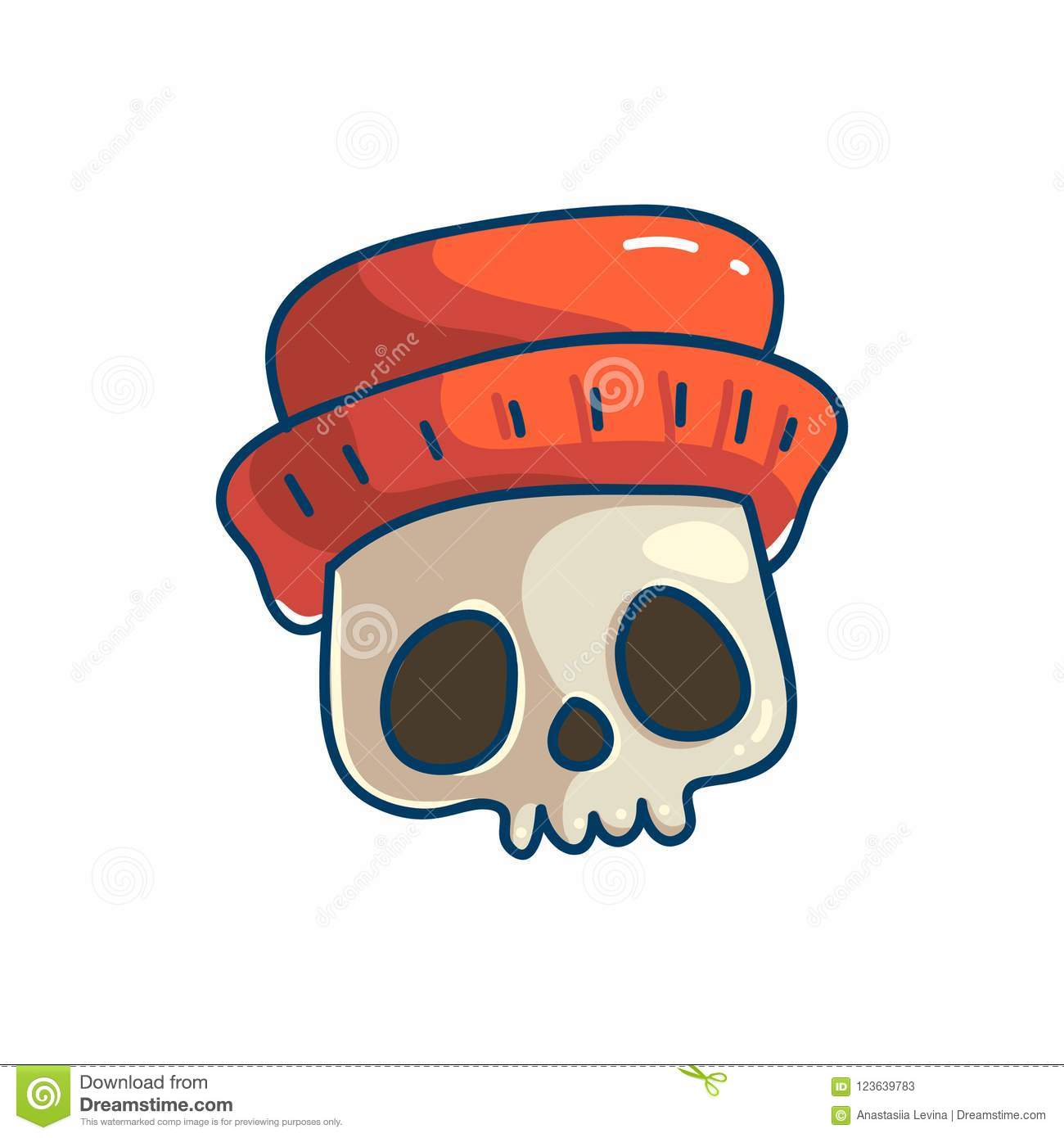 Skull Character With Hat Stock Vector Illustration Of Drawn