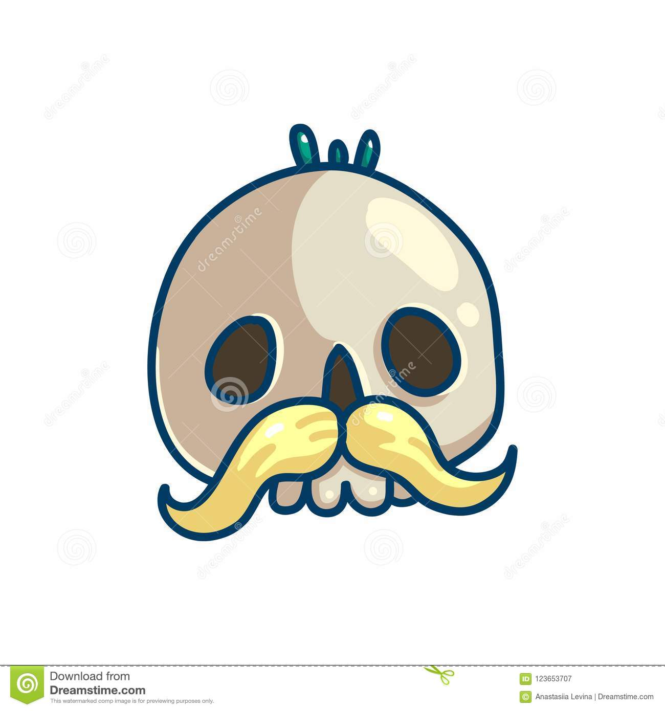 Skull Character With Mustache Stock Vector Illustration Of Human
