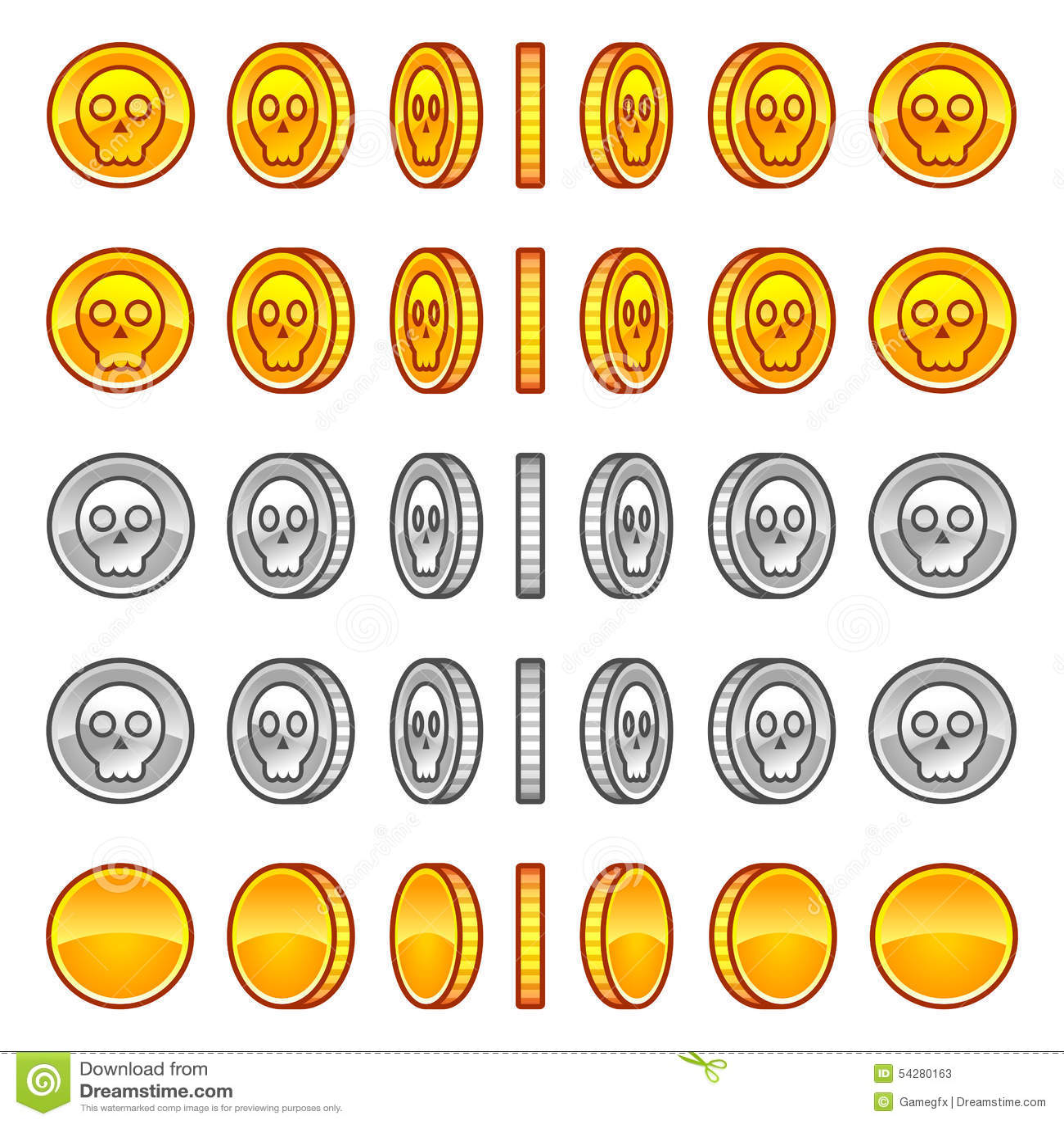 Skull Coins Rotation Animation Sprites Stock Vector Illustration