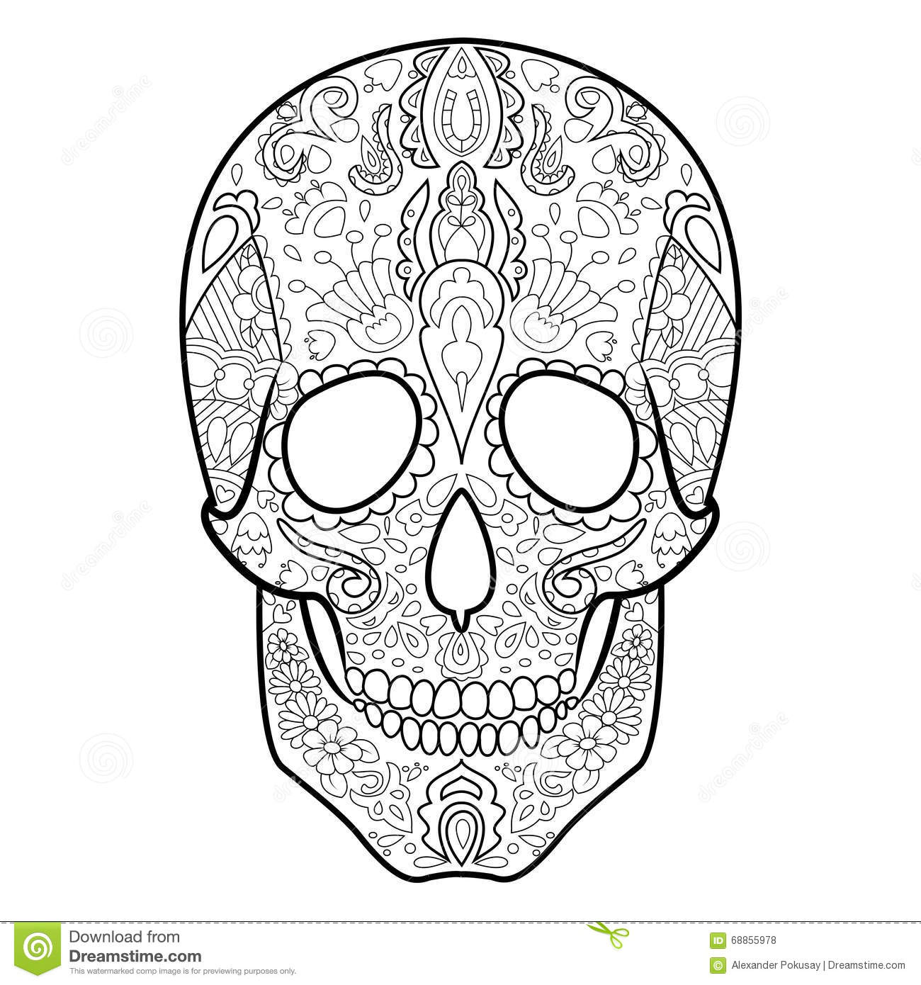 Skull Coloring Book For Adults Vector Stock Vector Illustration Of