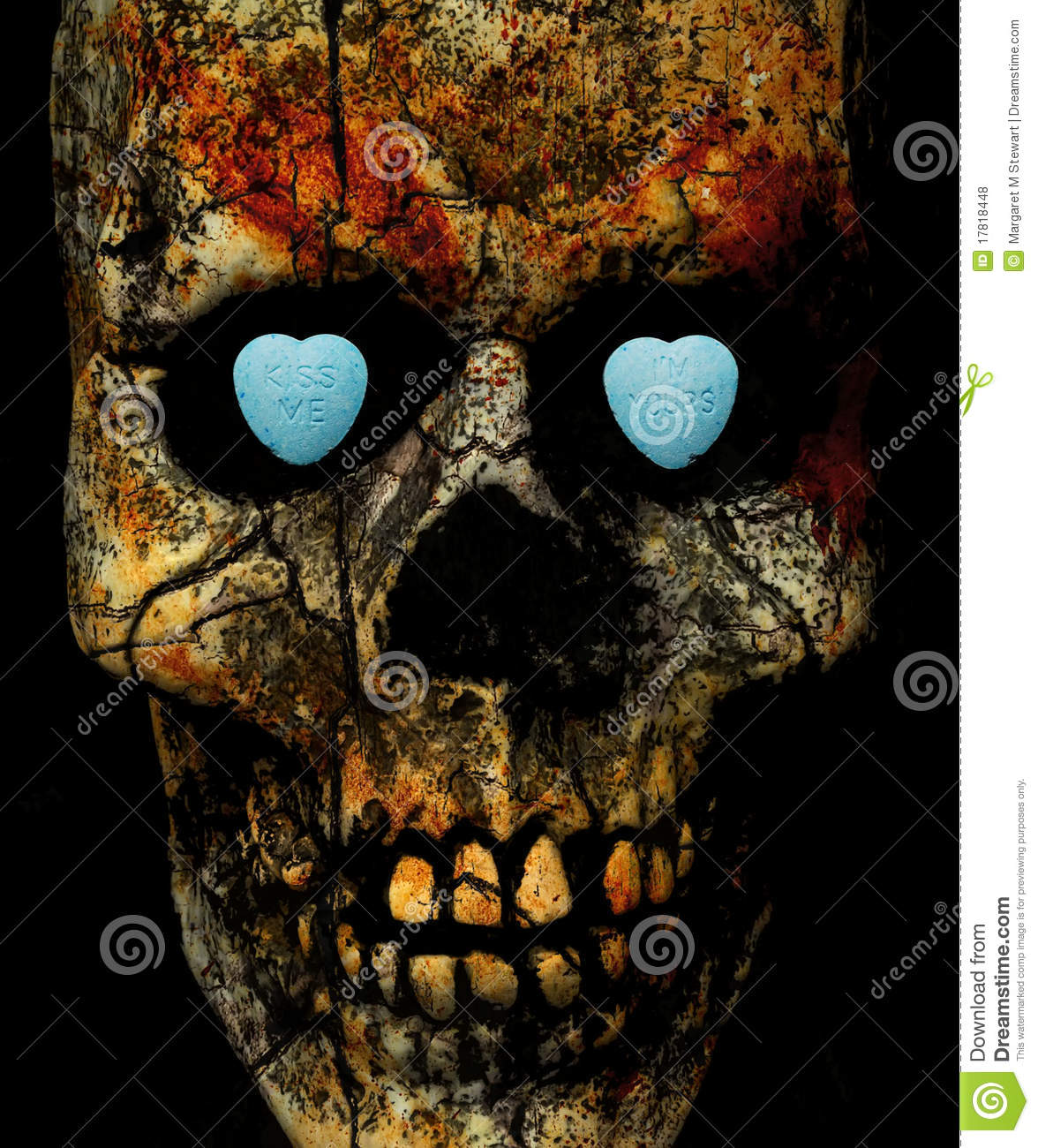skull with conversation candy hearts