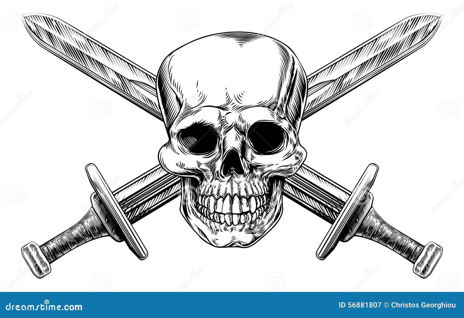 Skull cross swords stock vector image 56881807 for Crossed swords tattoo