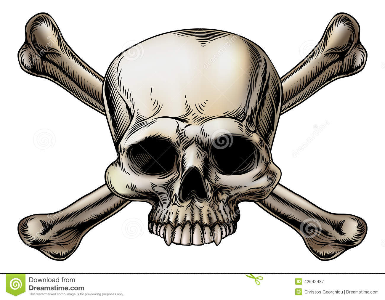 Skull And Crossbones Drawing Stock Vector Image 42642487