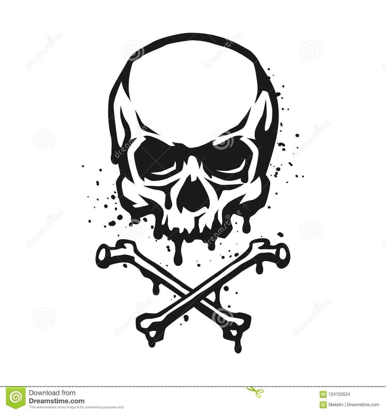 Skull And Crossbones In Grunge Style Stock Vector Illustration Of