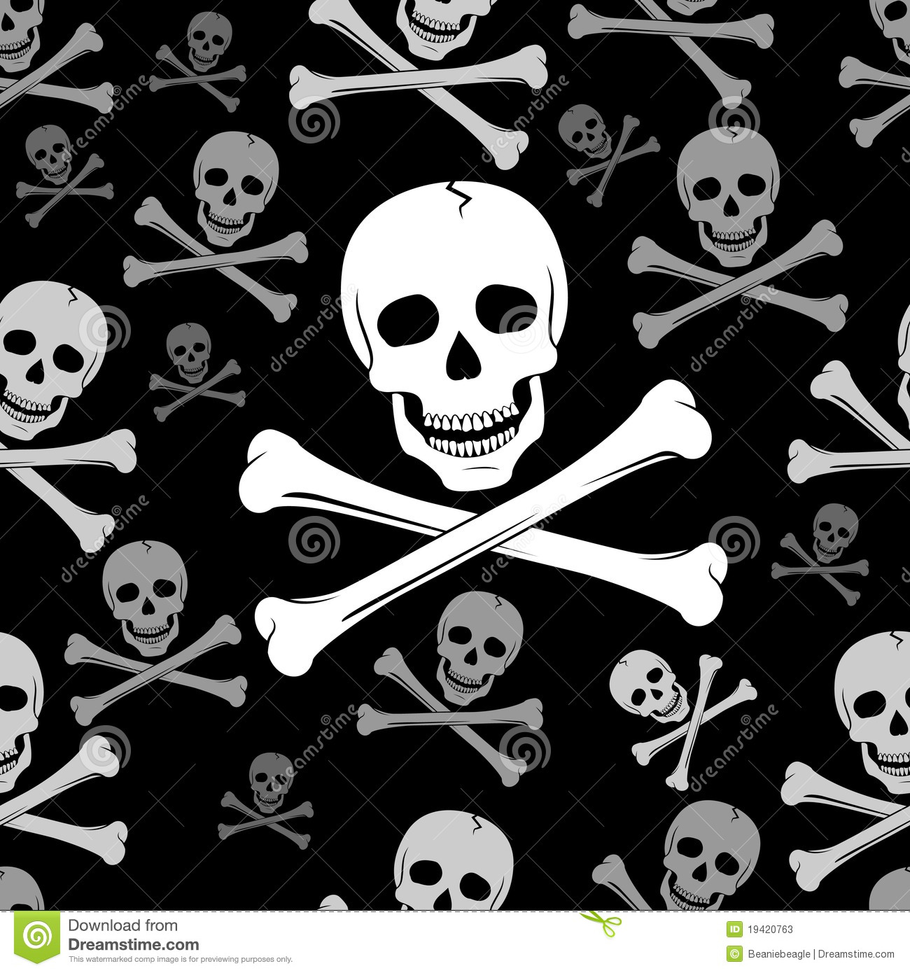 ... of a classic black and white skull and crossbones seamless pattern
