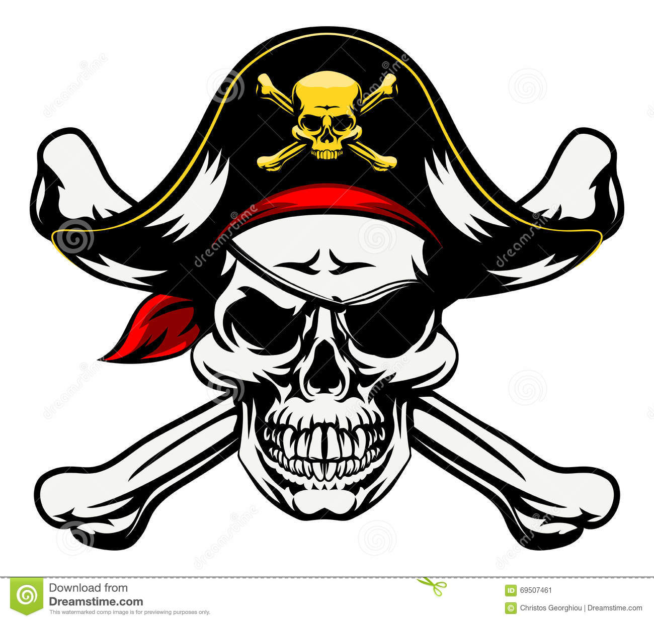 ... skull and crossbones dressed in pirate costume with hat and eye patch