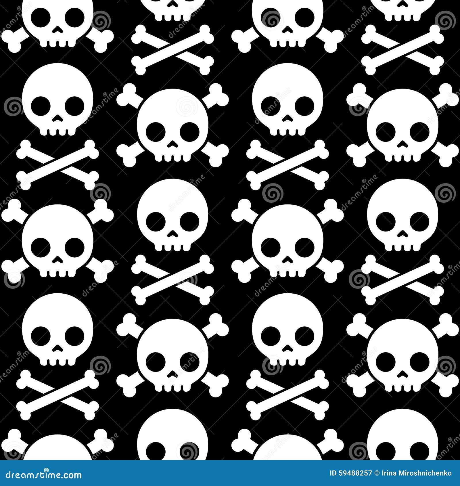 Skull And Crossbones Seamless Pattern Stock Vector Illustration Of