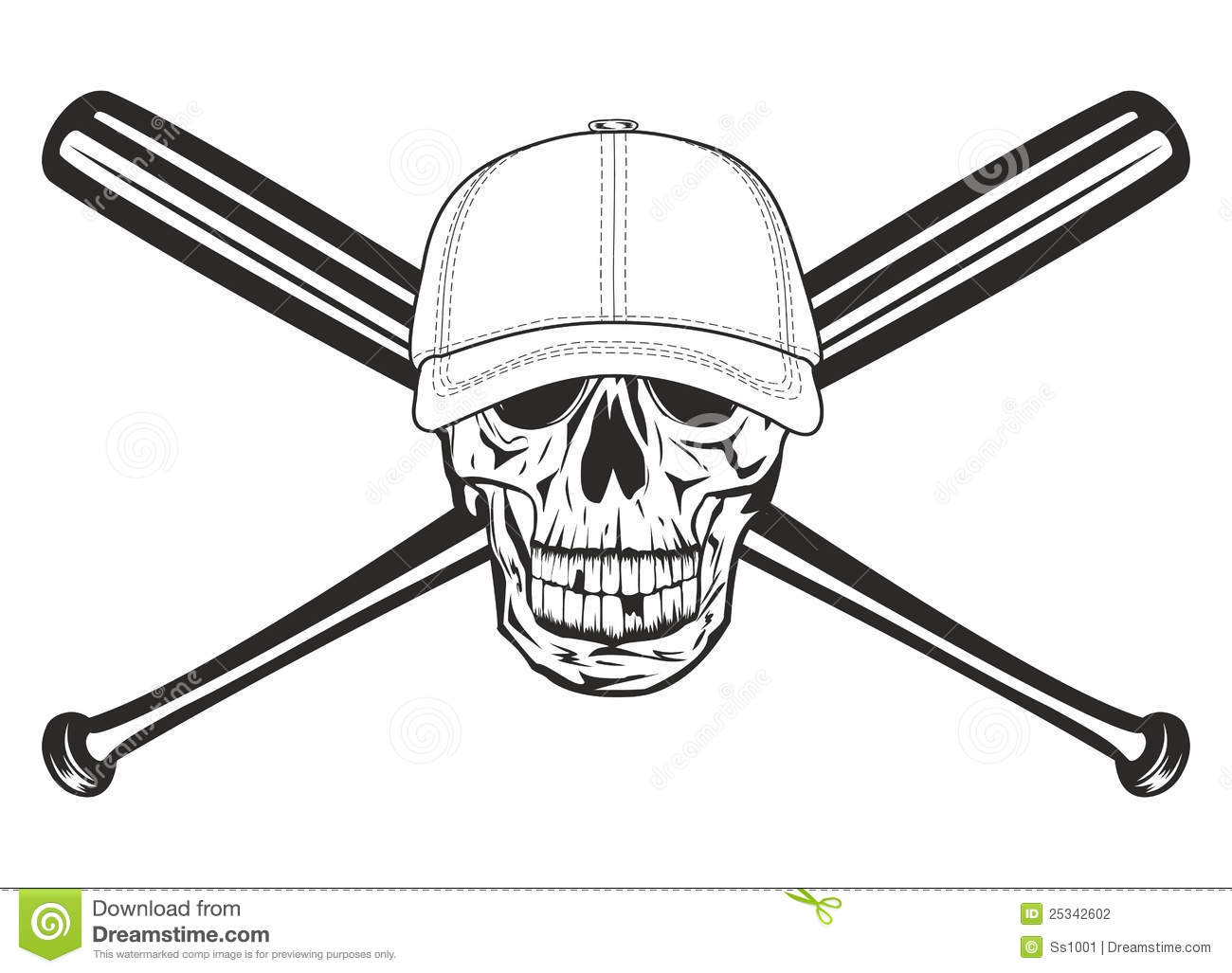 Skull And Crossed Baseball Bat Royalty Free Stock Photos - Image ...