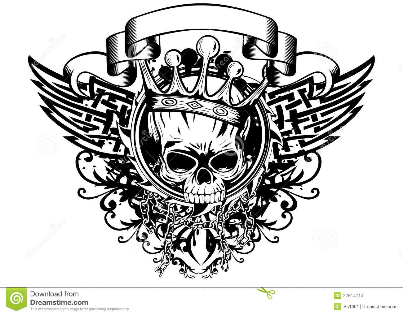 Skull In Crown And Abstract Patterns Stock Images  Image