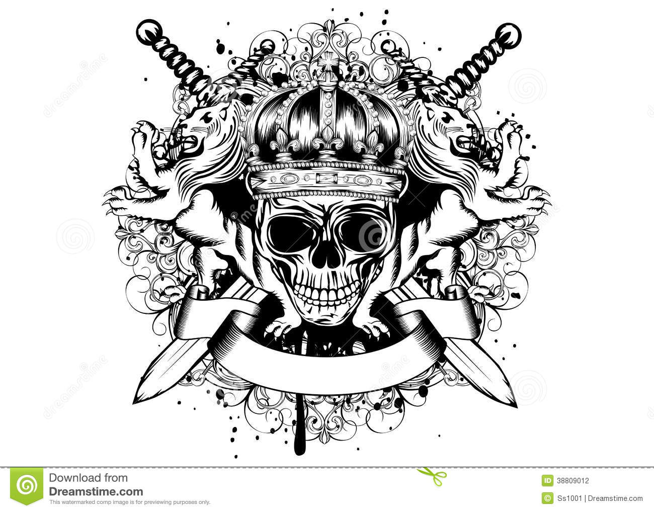 Skull In Crown Lions And Crossed Swords Stock Vector