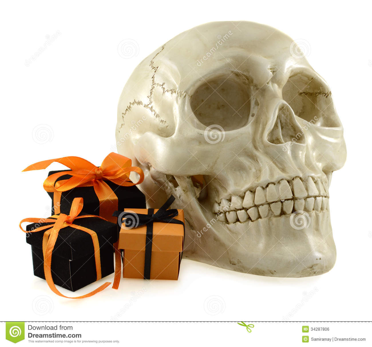 Download Skull With Cute Halloween Gifts Stock Photo Image Of Human Evil 34287806