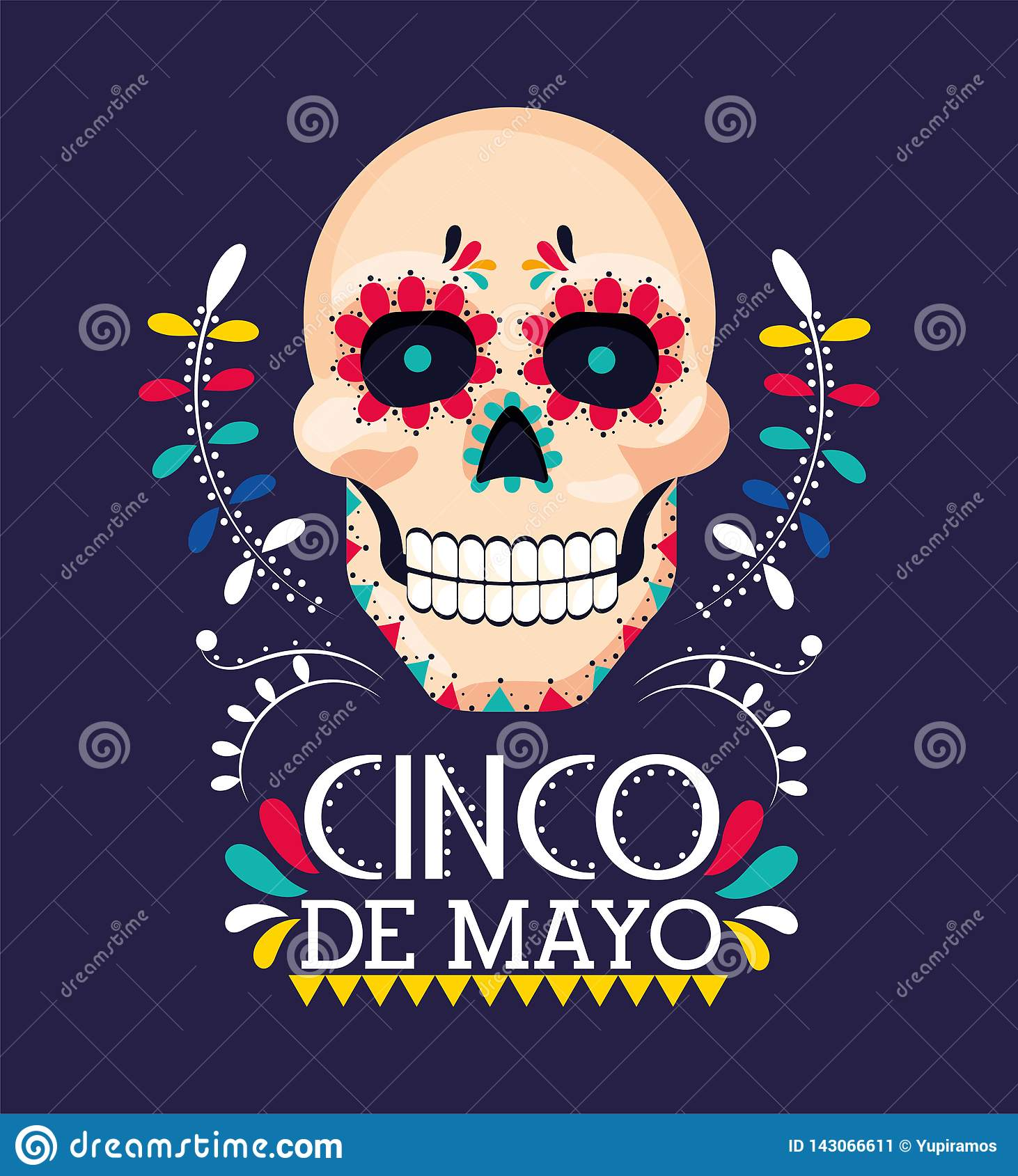 Skull decoration to mexican event celebration