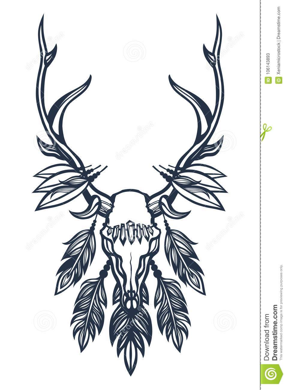 Skull Of The Deer With Antlers Feathers And Crystals Boho