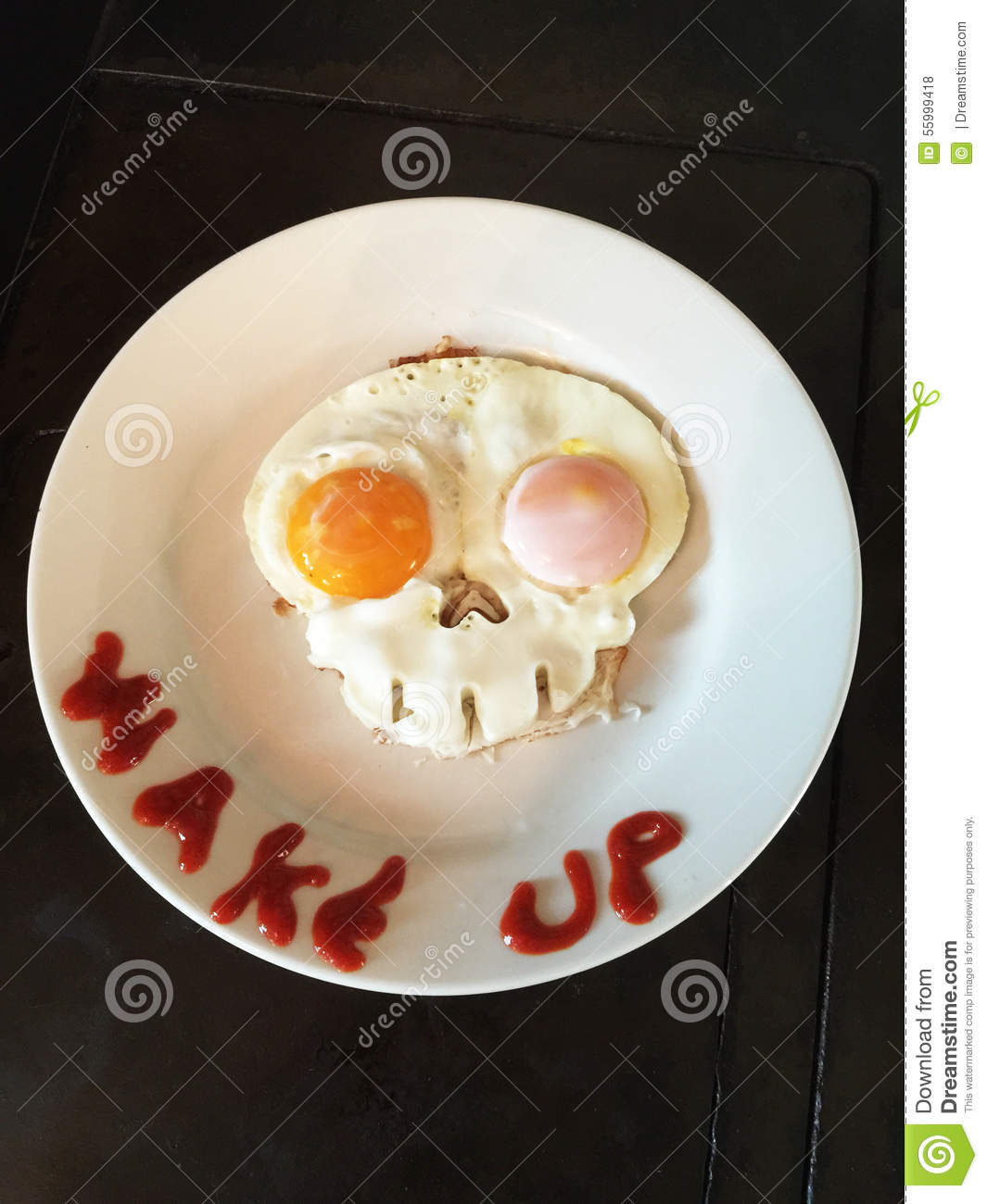 Skull Eggs And Wake Up Stock Photo - Image: 55999418