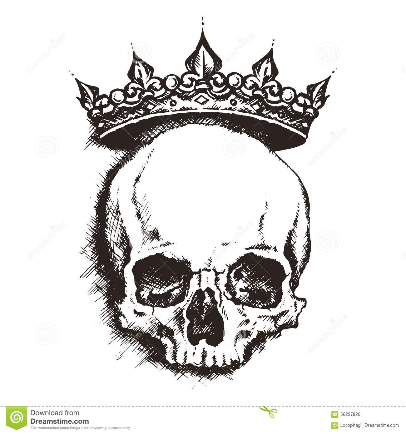 Crown Tattoo Line Drawing : Skull engraving style vector illustration stock