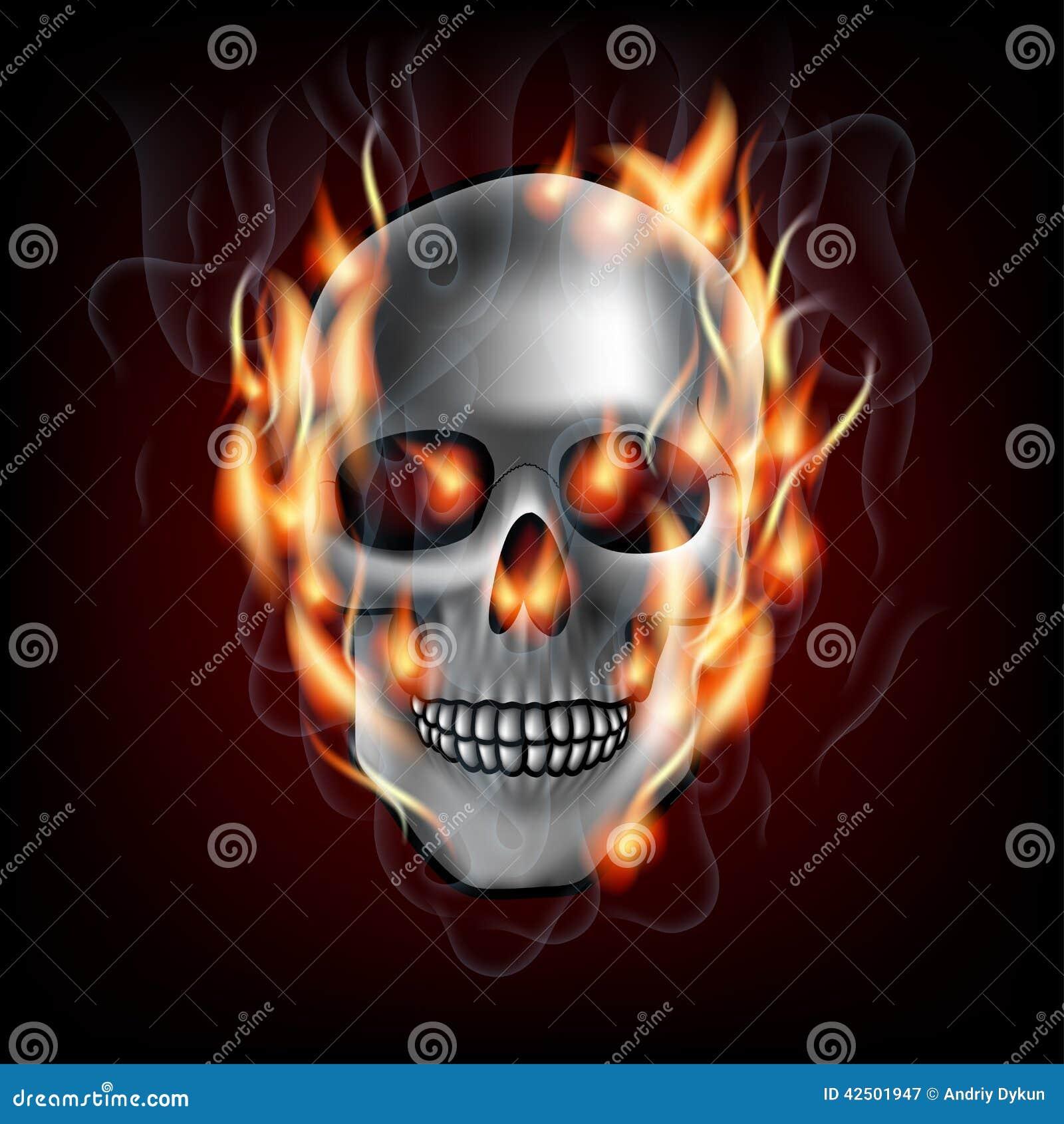 Skulls on fire purple