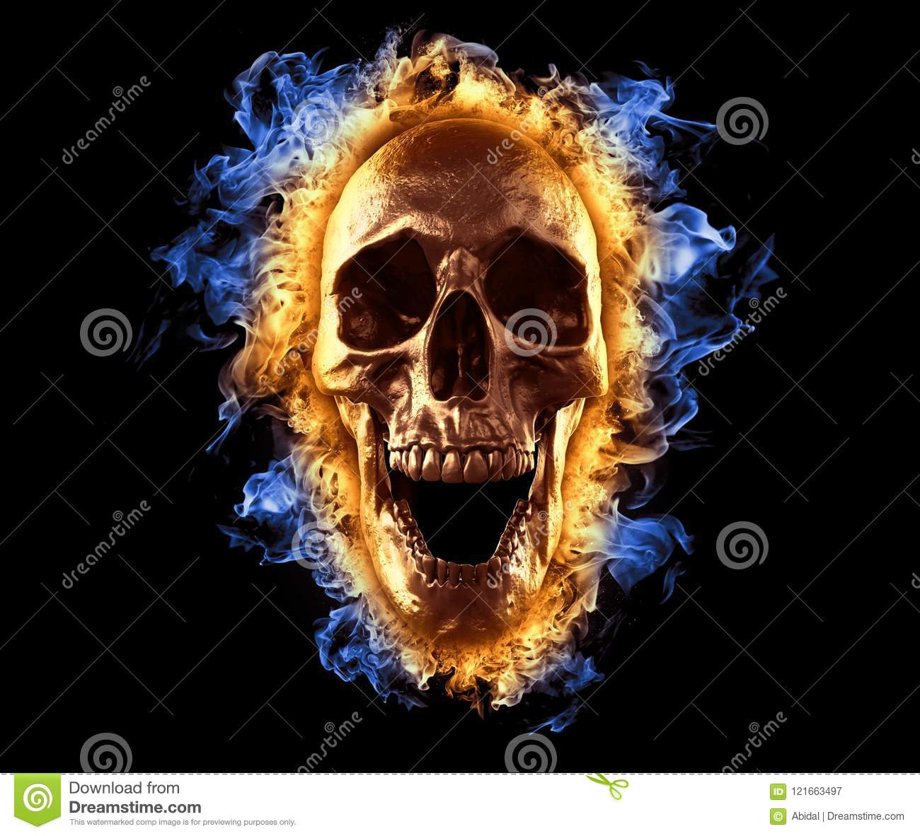 Skull Burning In Blue And Red Fire Wallpaper 3d Rendering