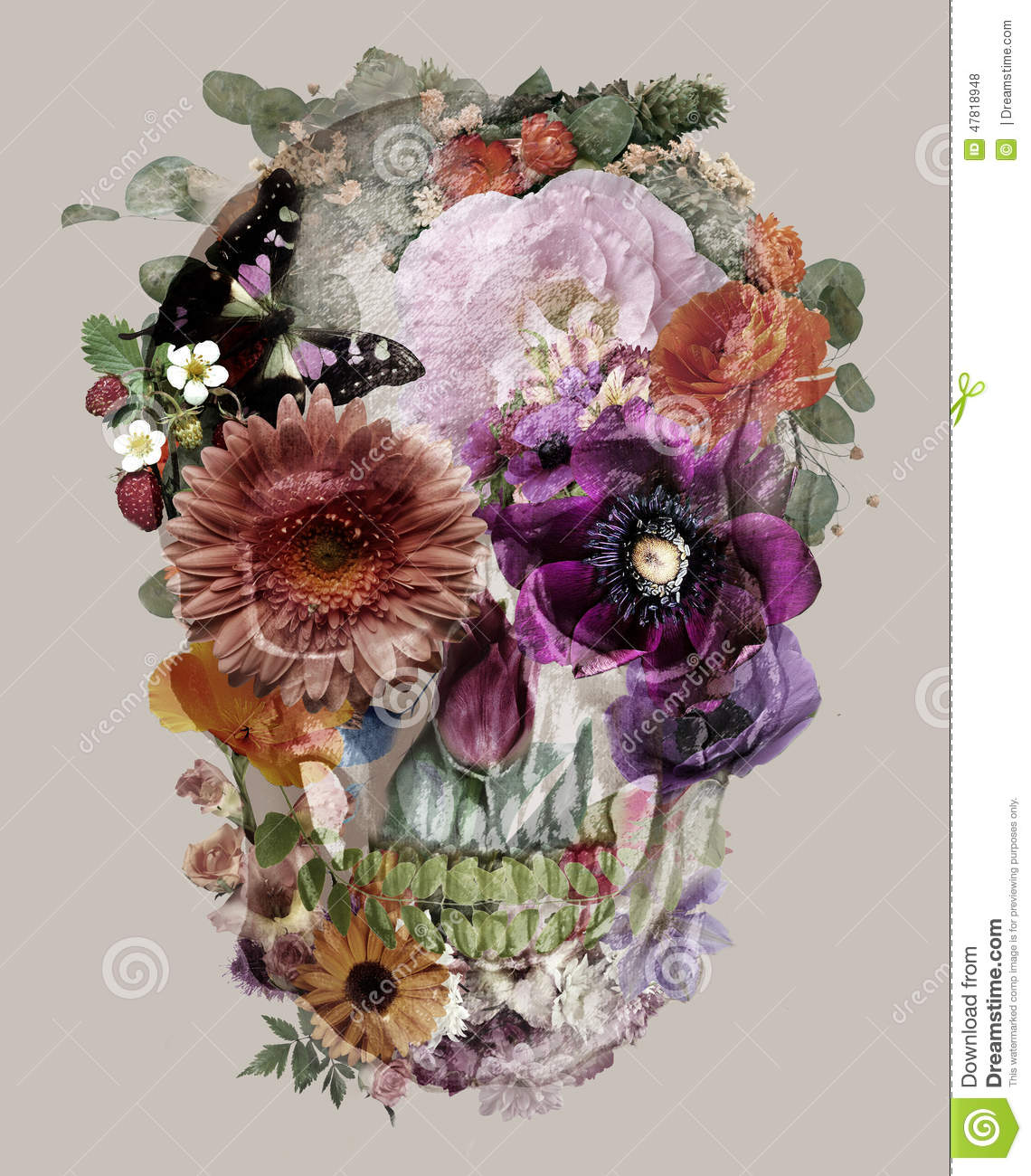 The Skull Of Flowers Stock Illustration Image Of Flower