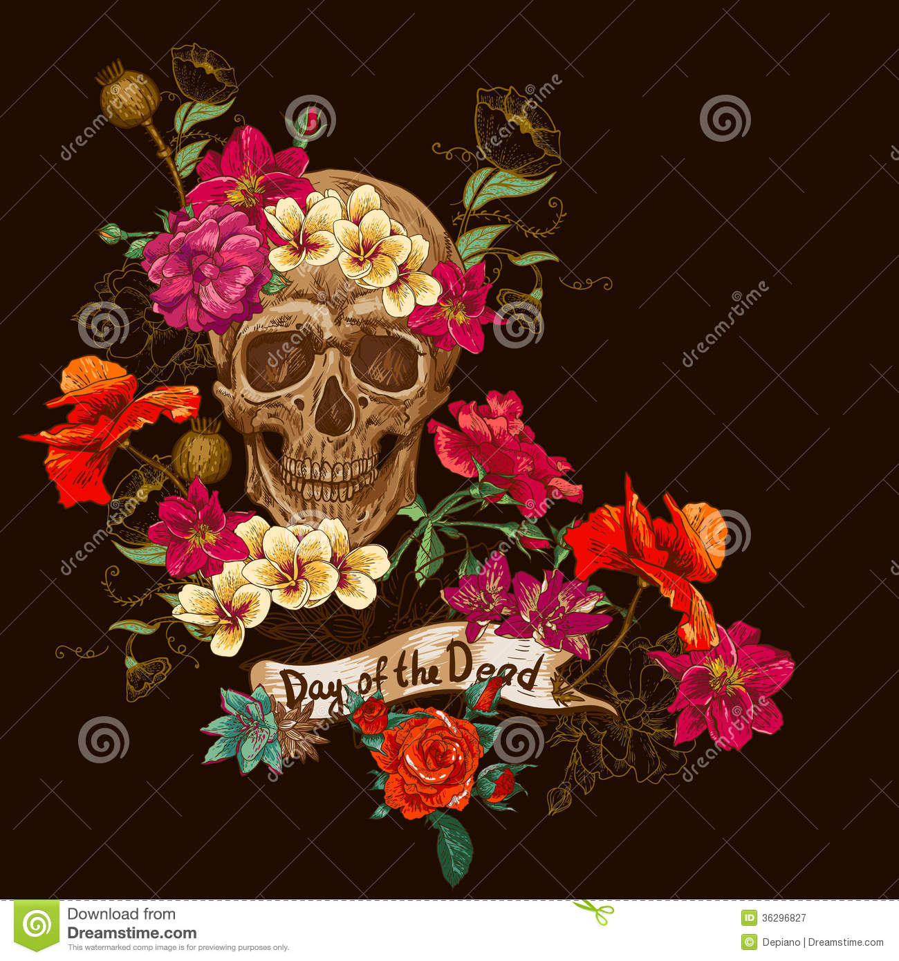 skull and flowers day of the dead stock vector  image, Beautiful flower