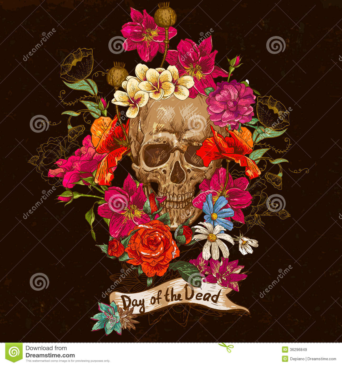 skull and flowers day of the dead stock image  image, Beautiful flower