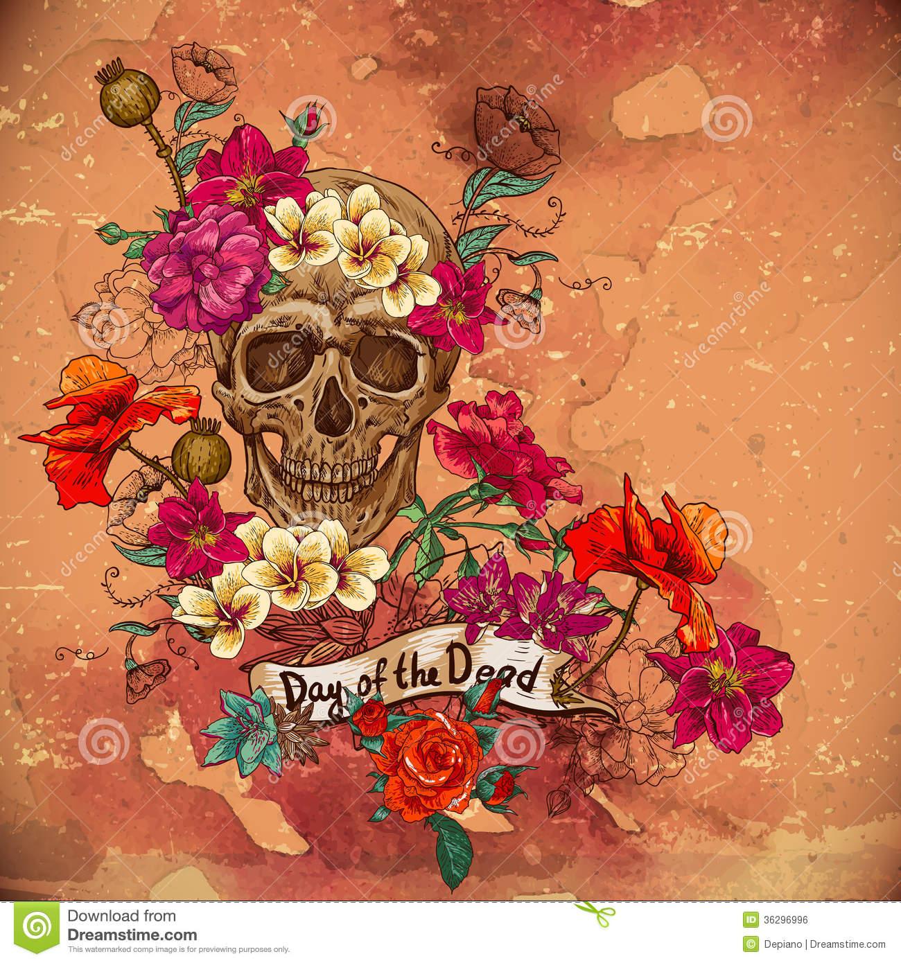 skull and flowers day of the dead royalty free stock image  image, Beautiful flower