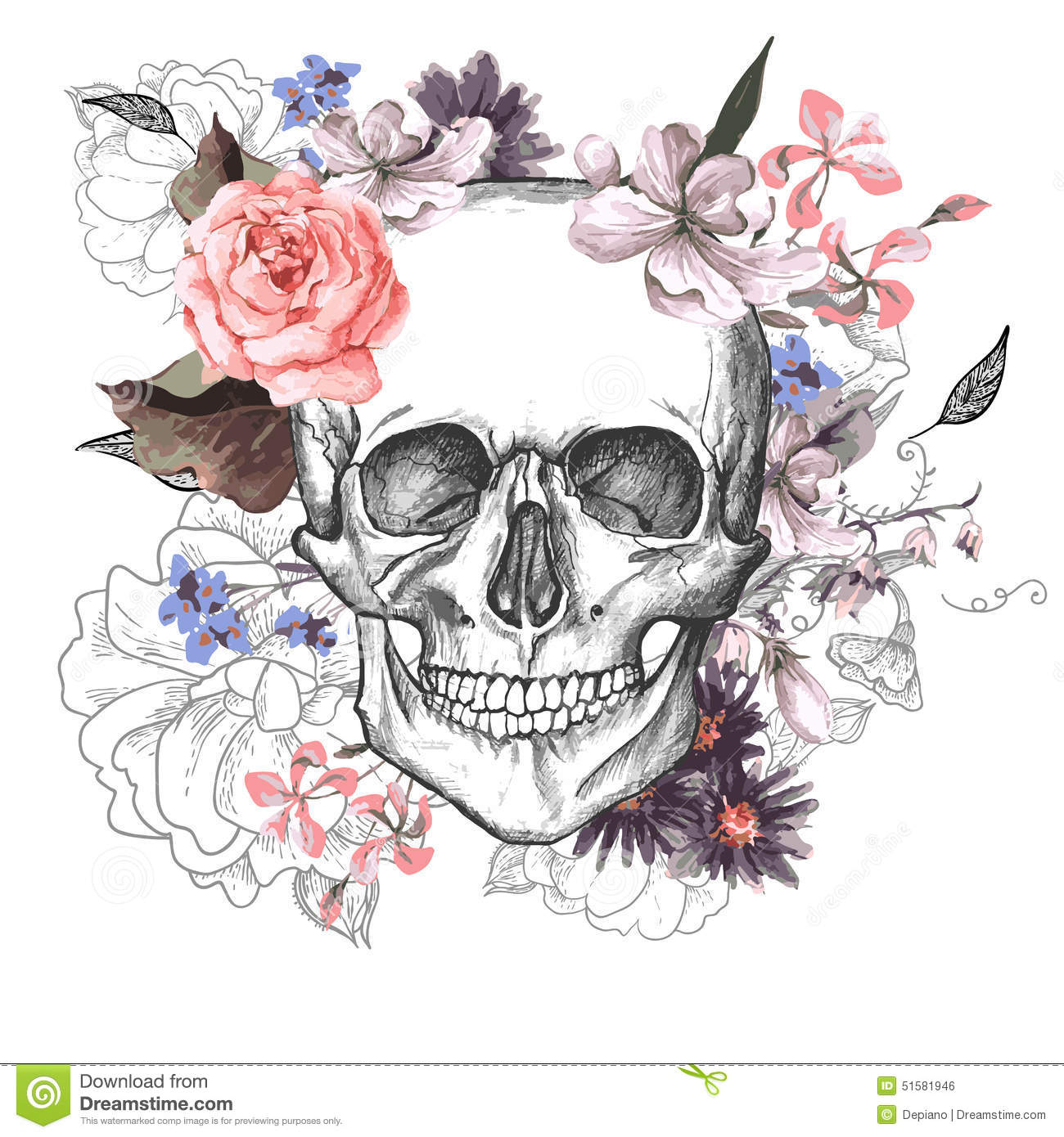 Skull And Flowers Day The Dead Stock Vector Image