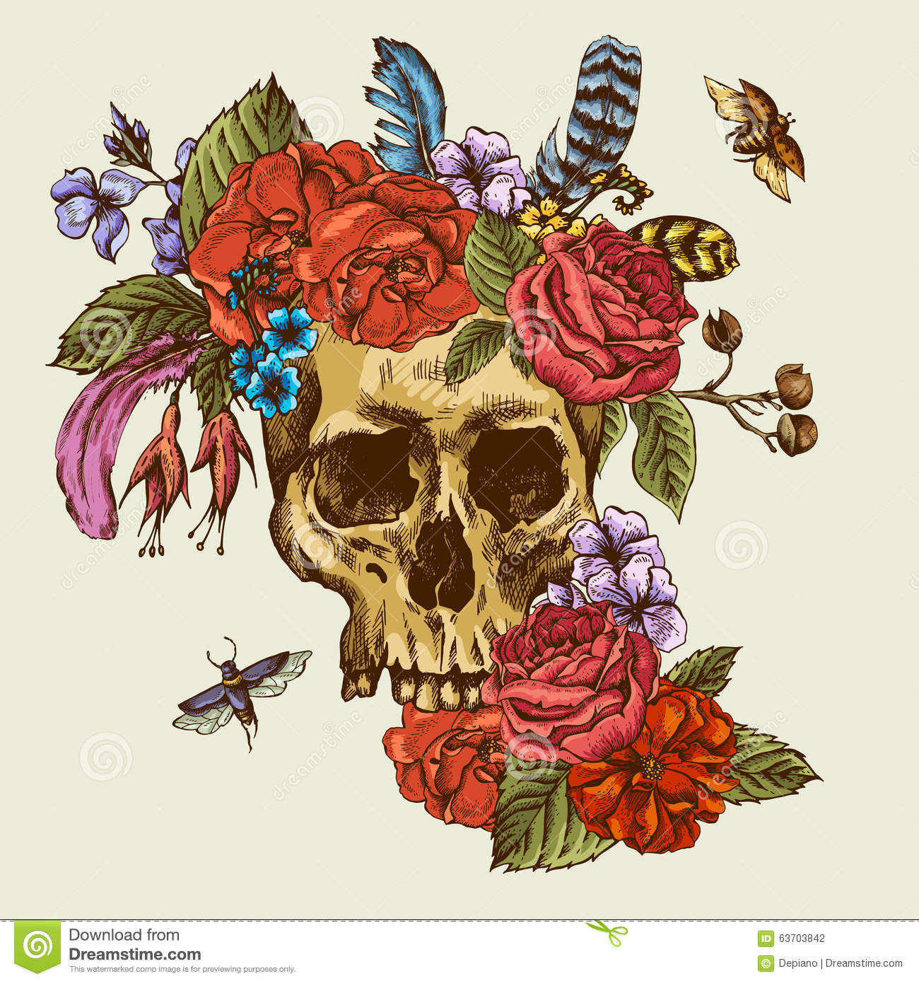 skull and flowers day of the dead stock vector illustration of