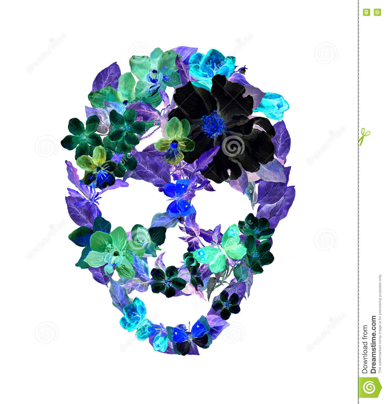 Vintage Day Of Dead Colorful Print: Skull With Flowers, Feathers. Watercolor In Vintage Boho
