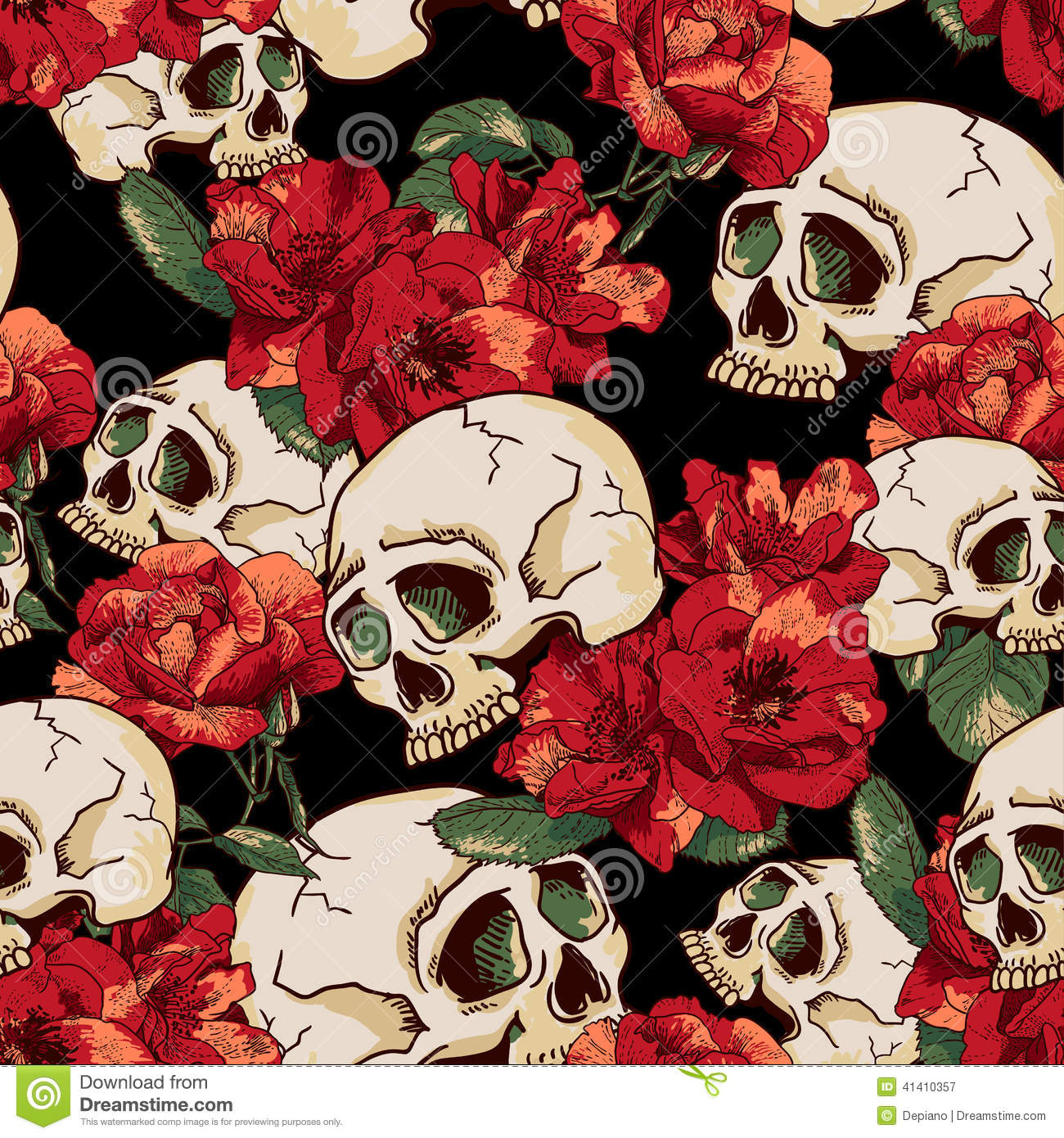 Vintage Day Of Dead Colorful Print