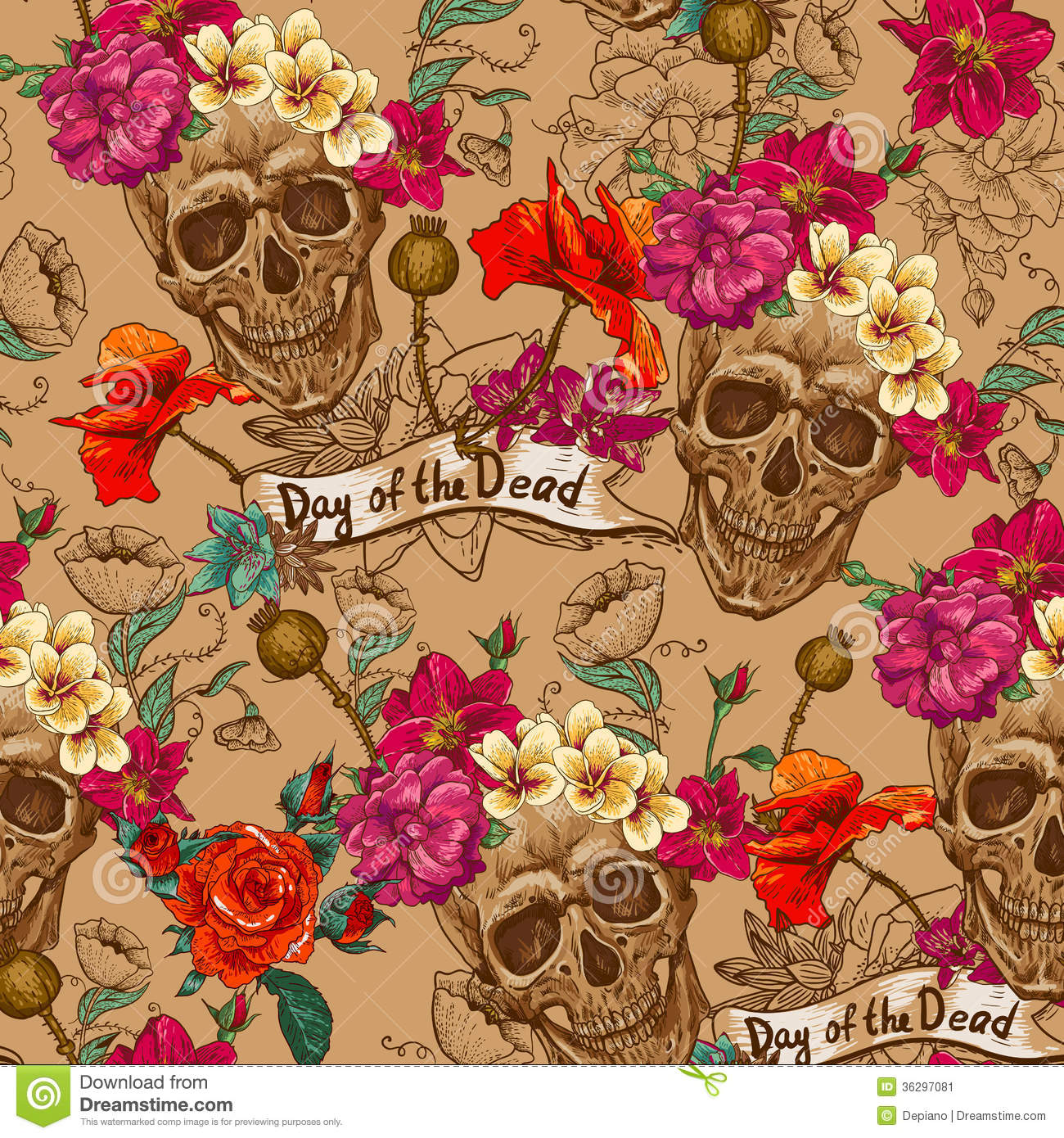 Skull And Flowers Seamless Background Stock Vector - Image ...
