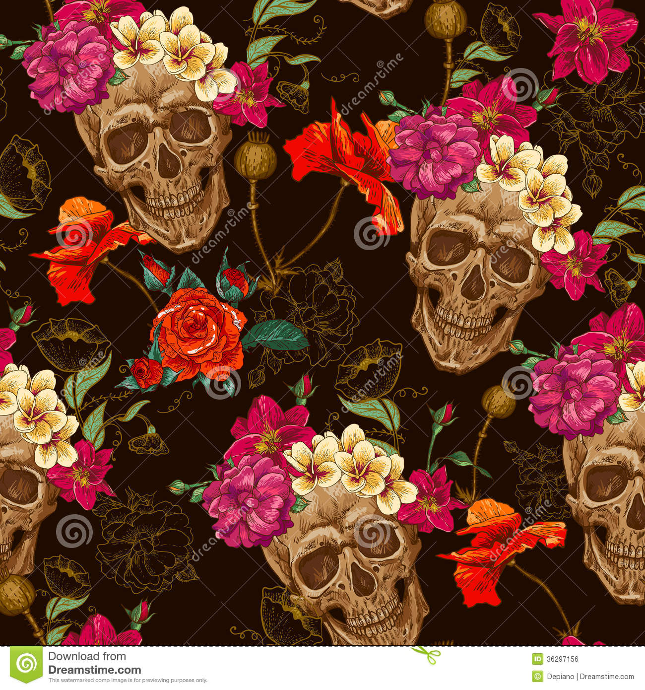 Skull And Flowers Seamless Background Royalty Free Stock Image Image
