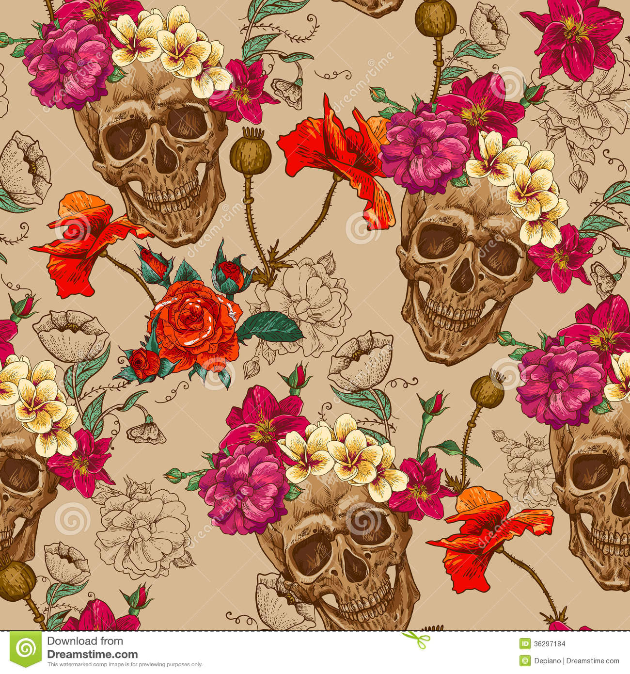 Skull And Flowers Seamless Background Stock Vector ...
