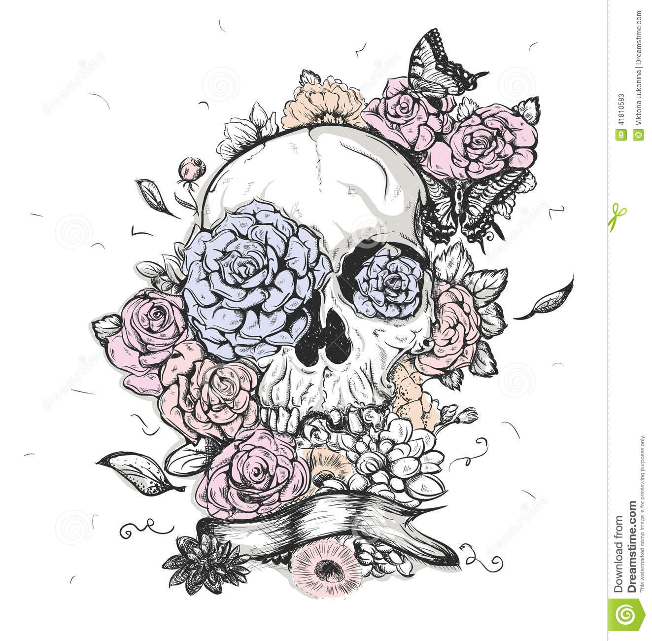 Skull And Flowers Vector Illustration Day Of The Dead Stock Image 41810583
