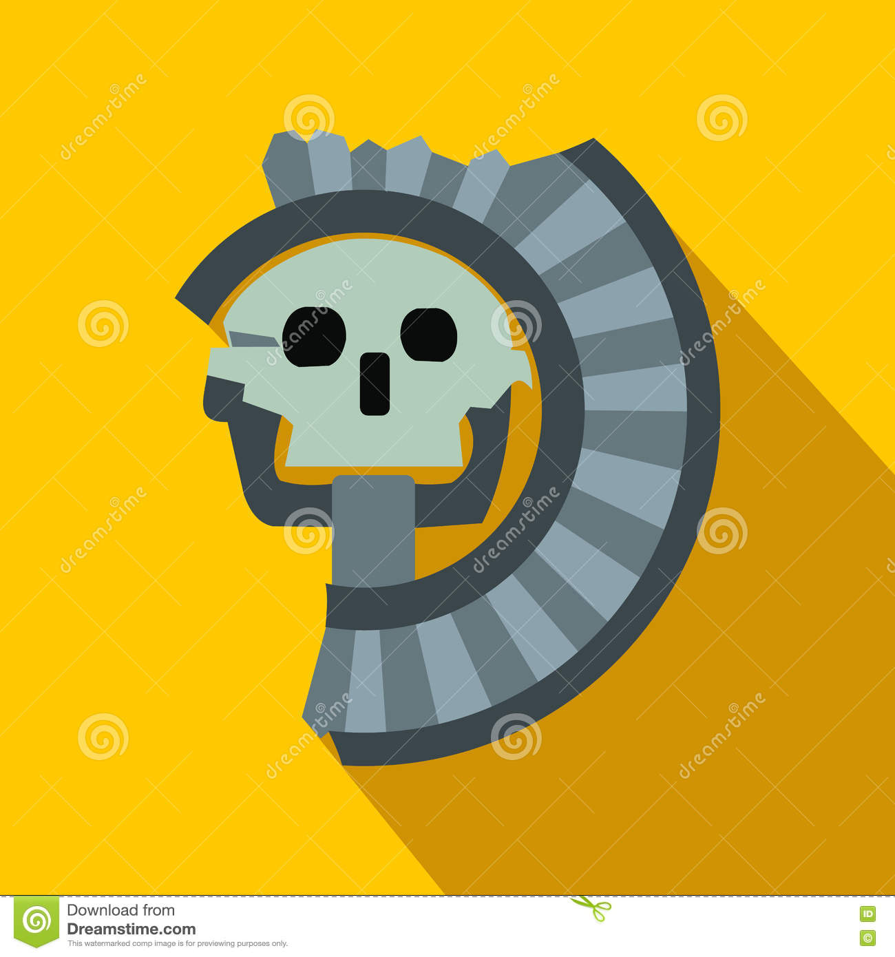 Skull The God Of Death Of Aztecs Icon Flat Style Stock Vector