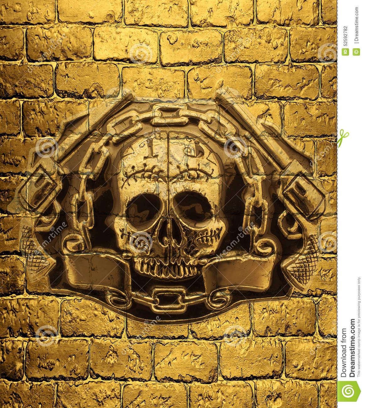 skull golden guns and chain on a background of golden brick wal stock illustration image. Black Bedroom Furniture Sets. Home Design Ideas