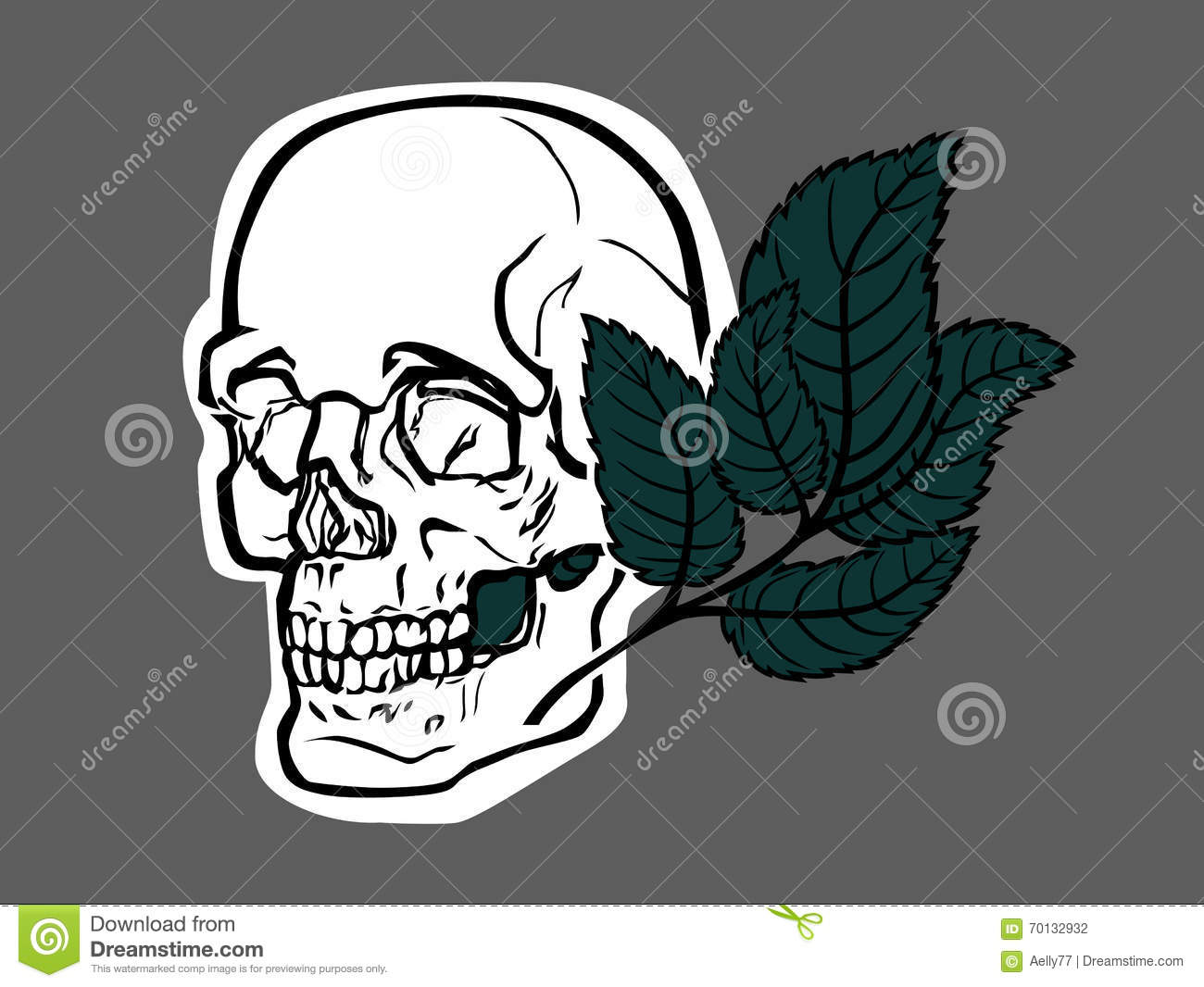 Skull and green leave.