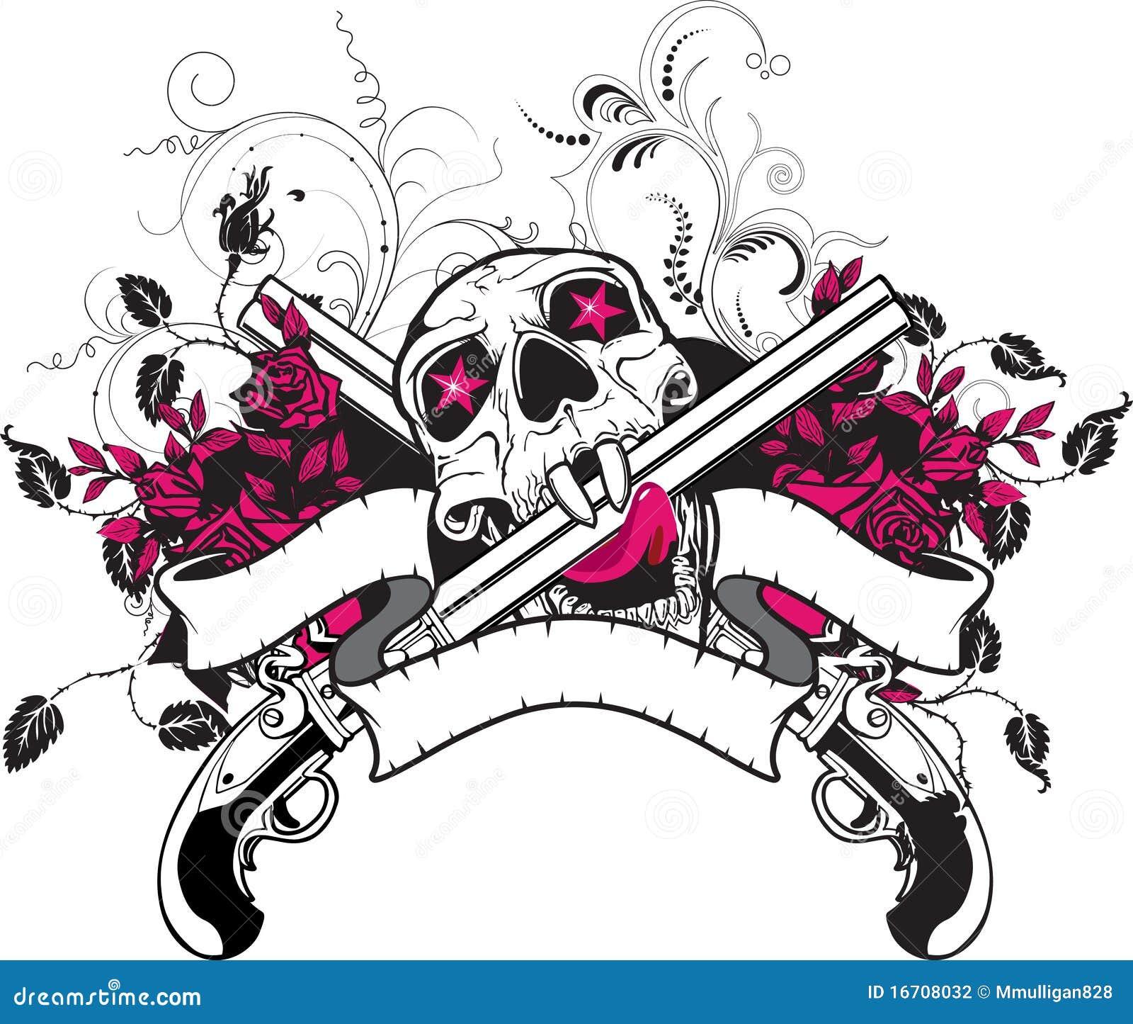 Design t shirt skull - Banner Blank Design Guns Rock Roses Shirt Skull T