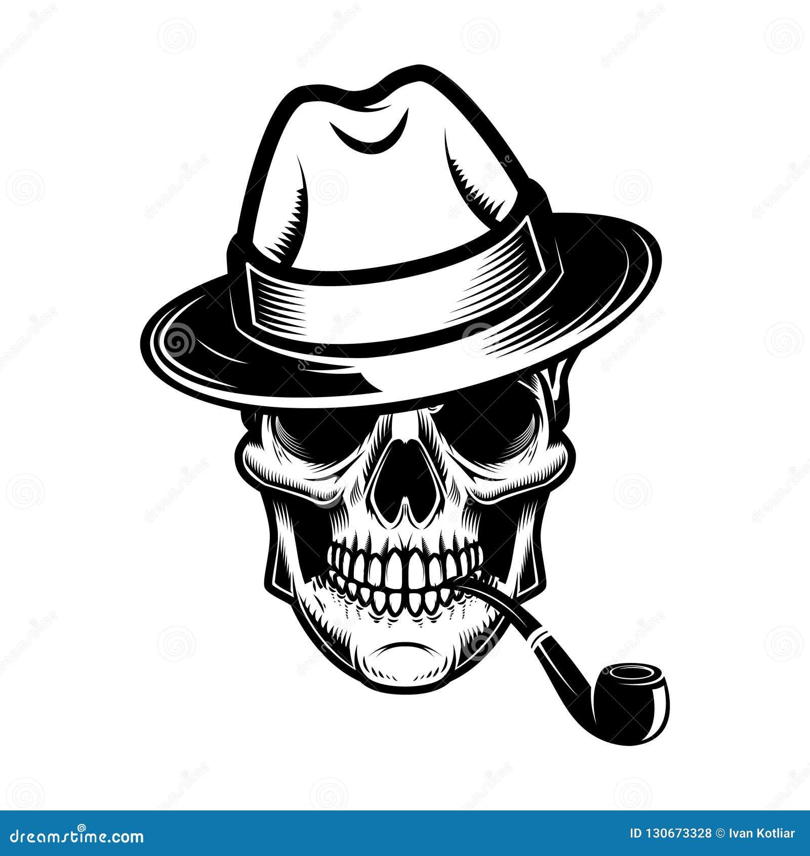 ccb2e7da06c Skull hat smoking pipe design element logo label emblem sign skull hat  smoking pipe design element
