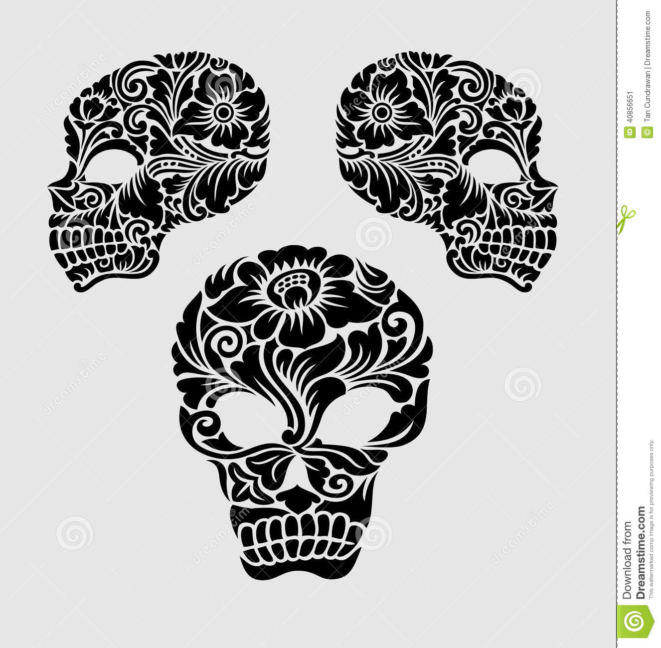 Skull Head Floral Ornament Decoration Stock Vector Image