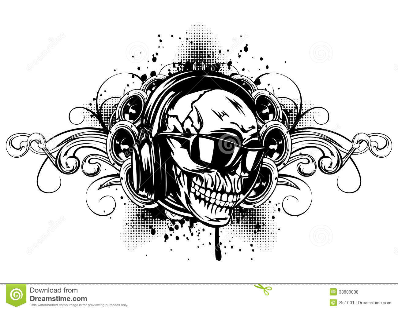 skull in headphones sunglasses and patterns stock vector