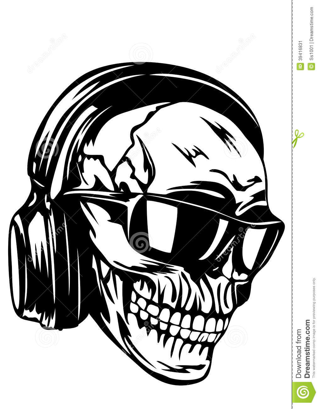 skull in headphones and sunglasses stock vector