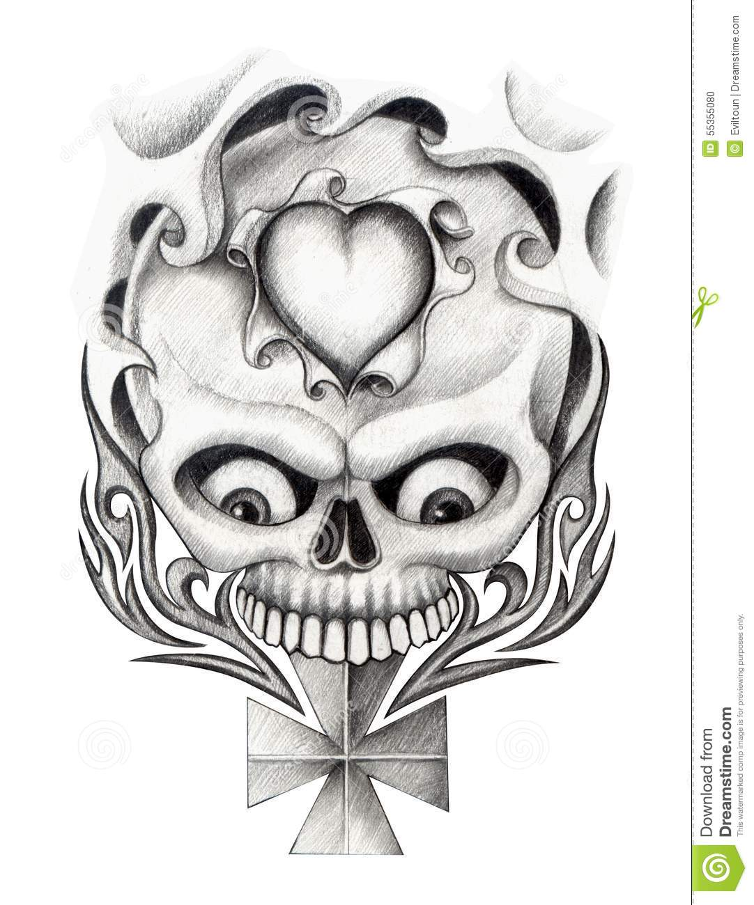 Skull heart cross art tattoo