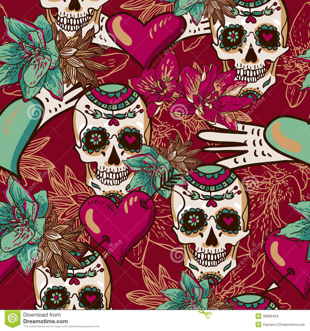 Skull, Hearts And Flowers Seamless Background Stock Images ...