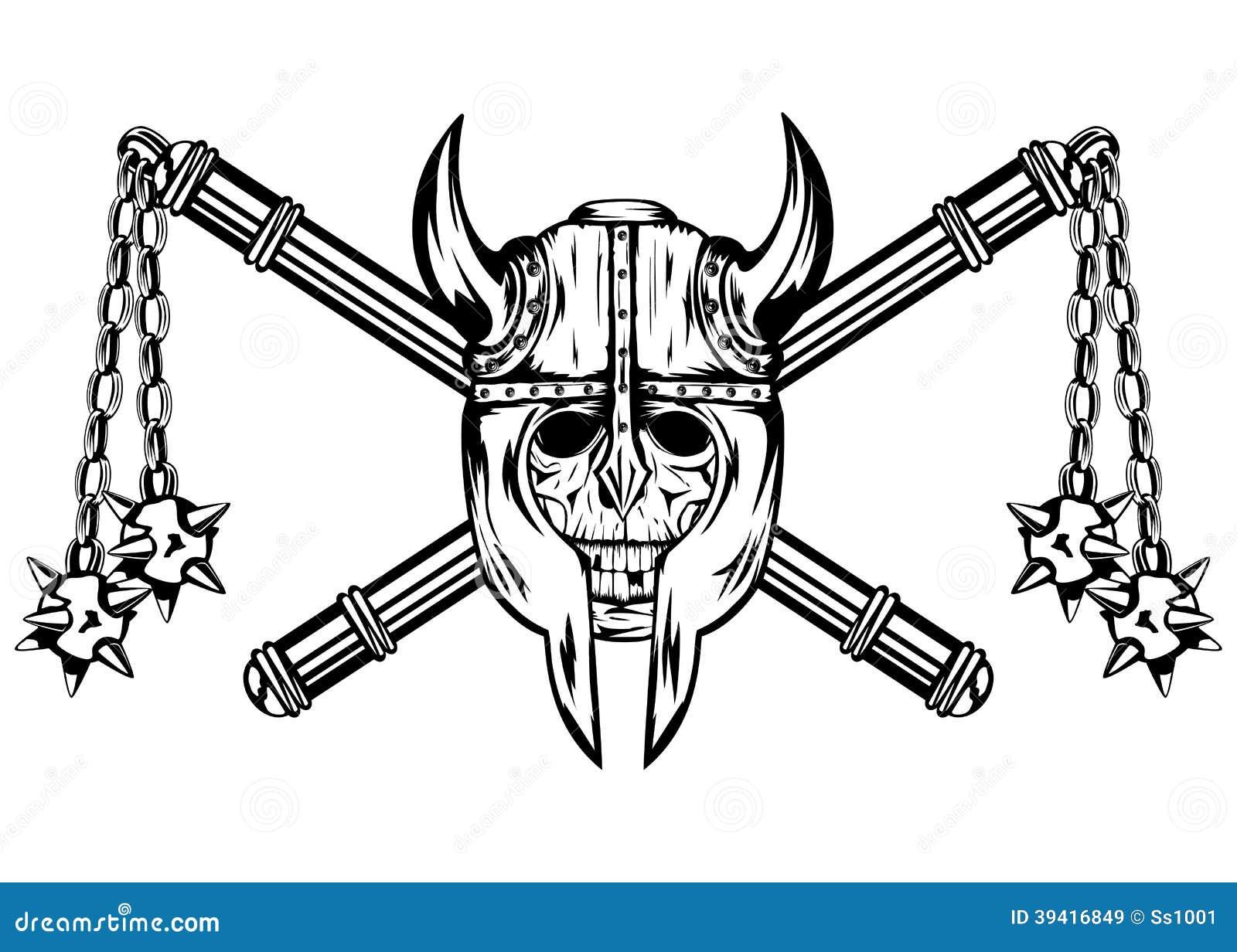 Stock Vector Alliesinteract 11211360: Skull In Helmet And Crossed Maces Stock Vector