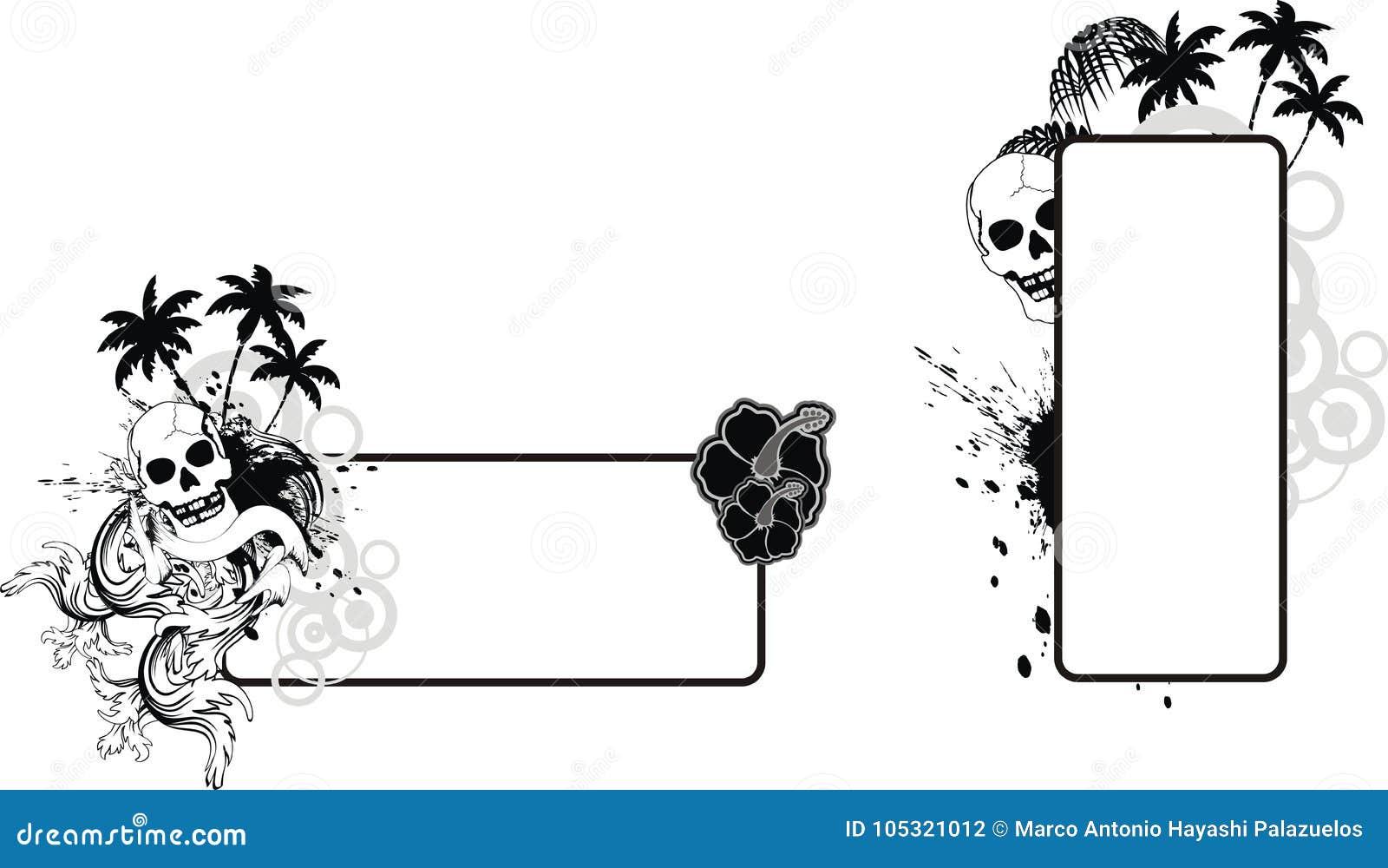Skull Hibiscus Hawaiian Flowers Tattoo Copy Space Set Stock Vector
