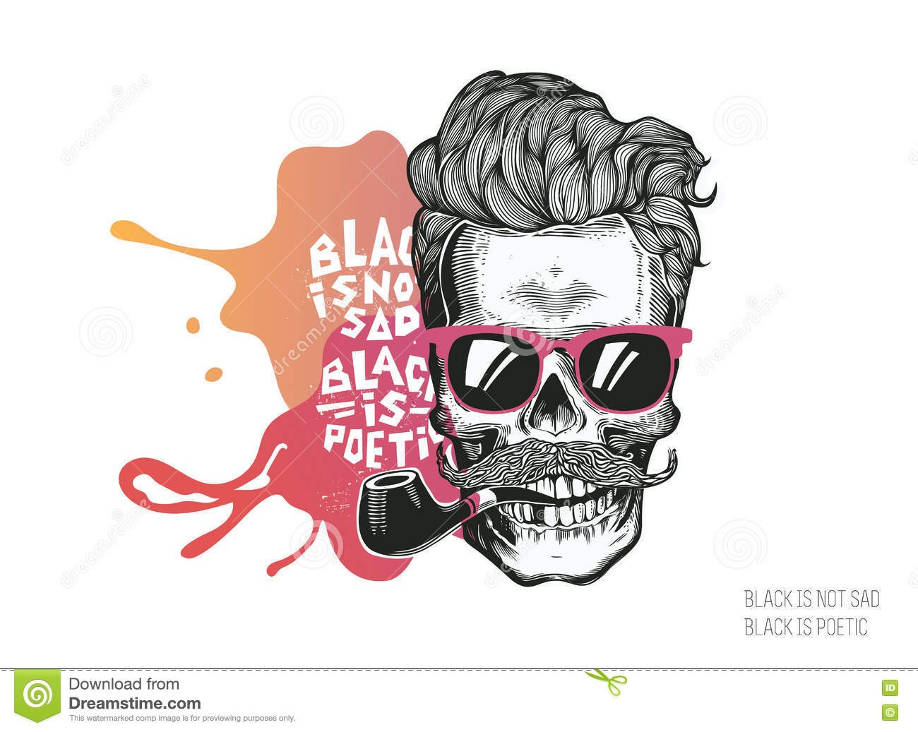 Skull. Hipster silhouette with mustache glasses and tobacco pipe on a colorful splash background. Vector illustration in modern en