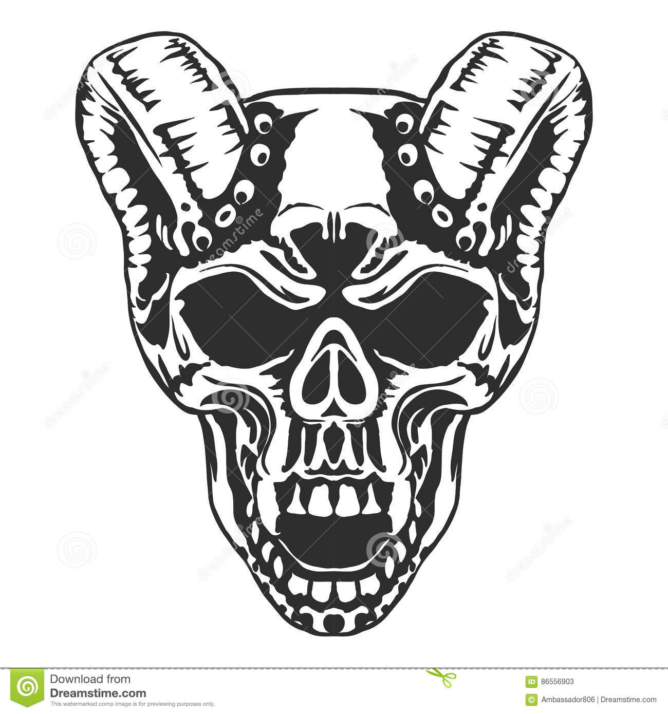 skull  horned demon  vector cartoon vector